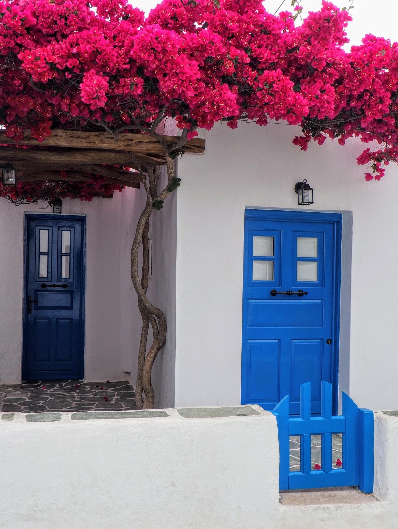 porte d'entrée de couleur bleu